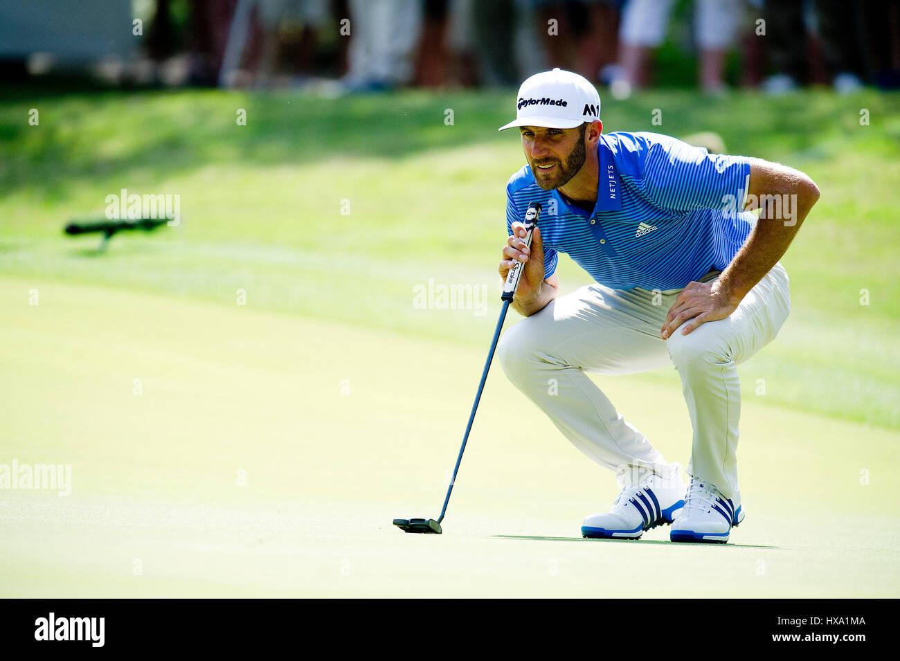 Austin, Texas, EUA. 26 de Março de 2017. Dustin Johnson em ação em campeonatos de golfe do mundo Imagens de Stock