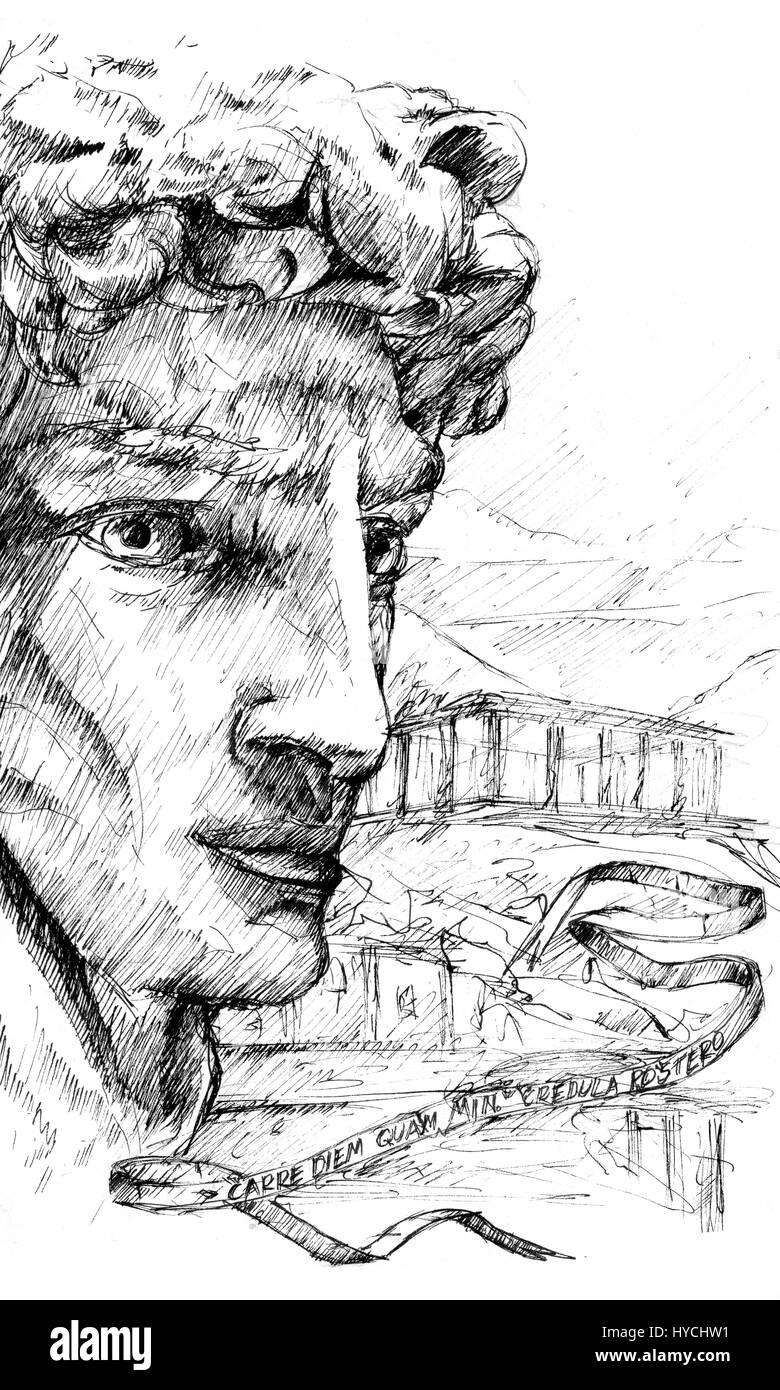 cabeça grega escultura macho desenho foto imagem de stock