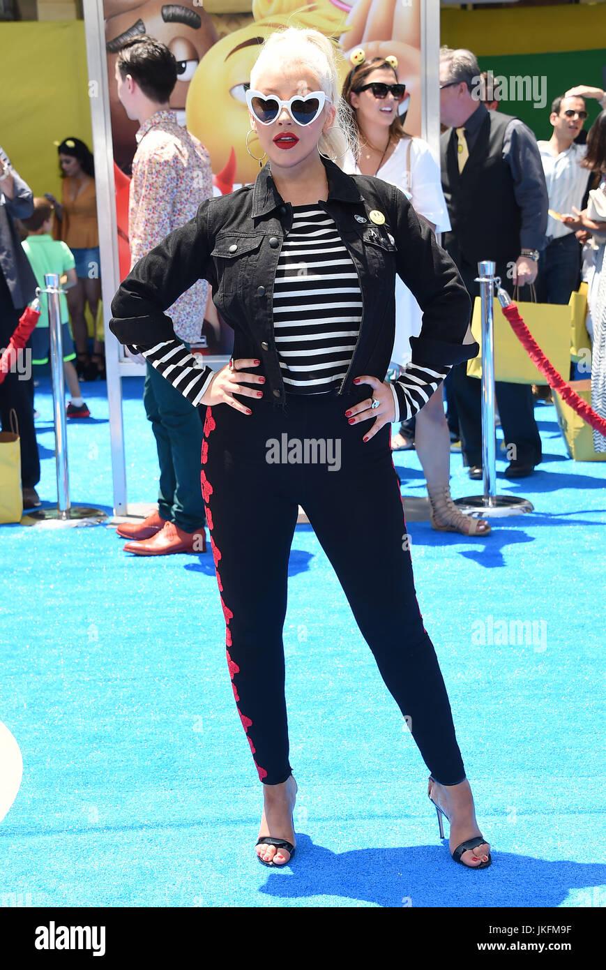 """Westwood, Califórnia, EUA. 23 de Julho, 2017. Christina Aguilera chega para a estreia do filme """"O Emoji Imagens de Stock"""