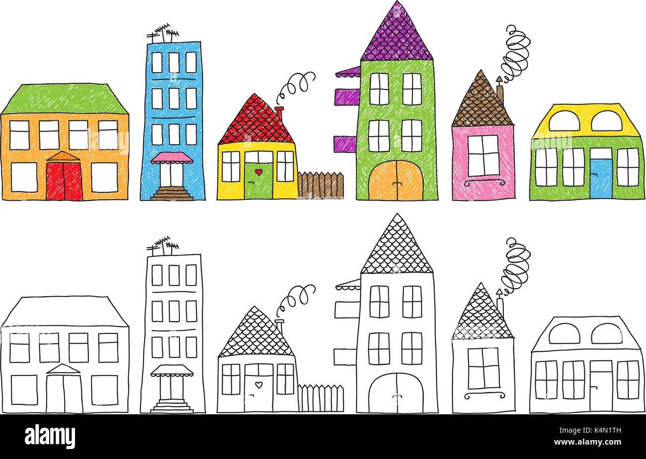 conjunto de desenho infantil ingénuo de diferentes casas coloridas