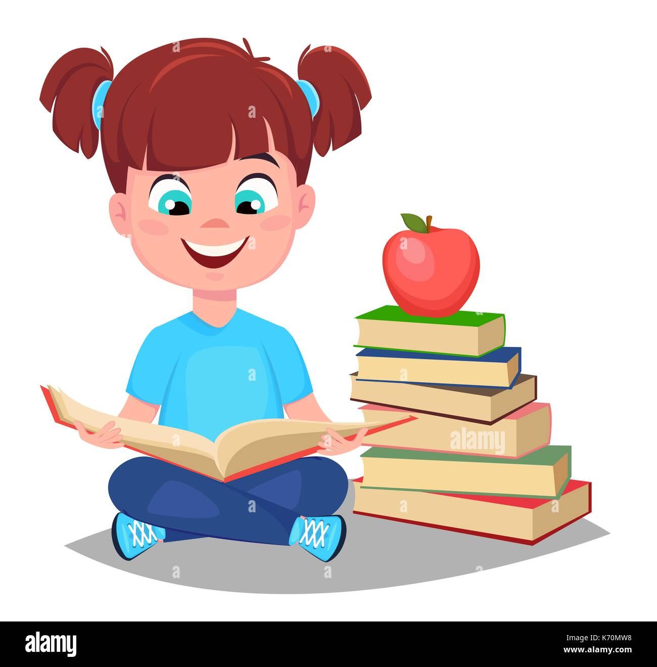 de volta à escola cute girl lendo livro e sentar perto de uma pilha