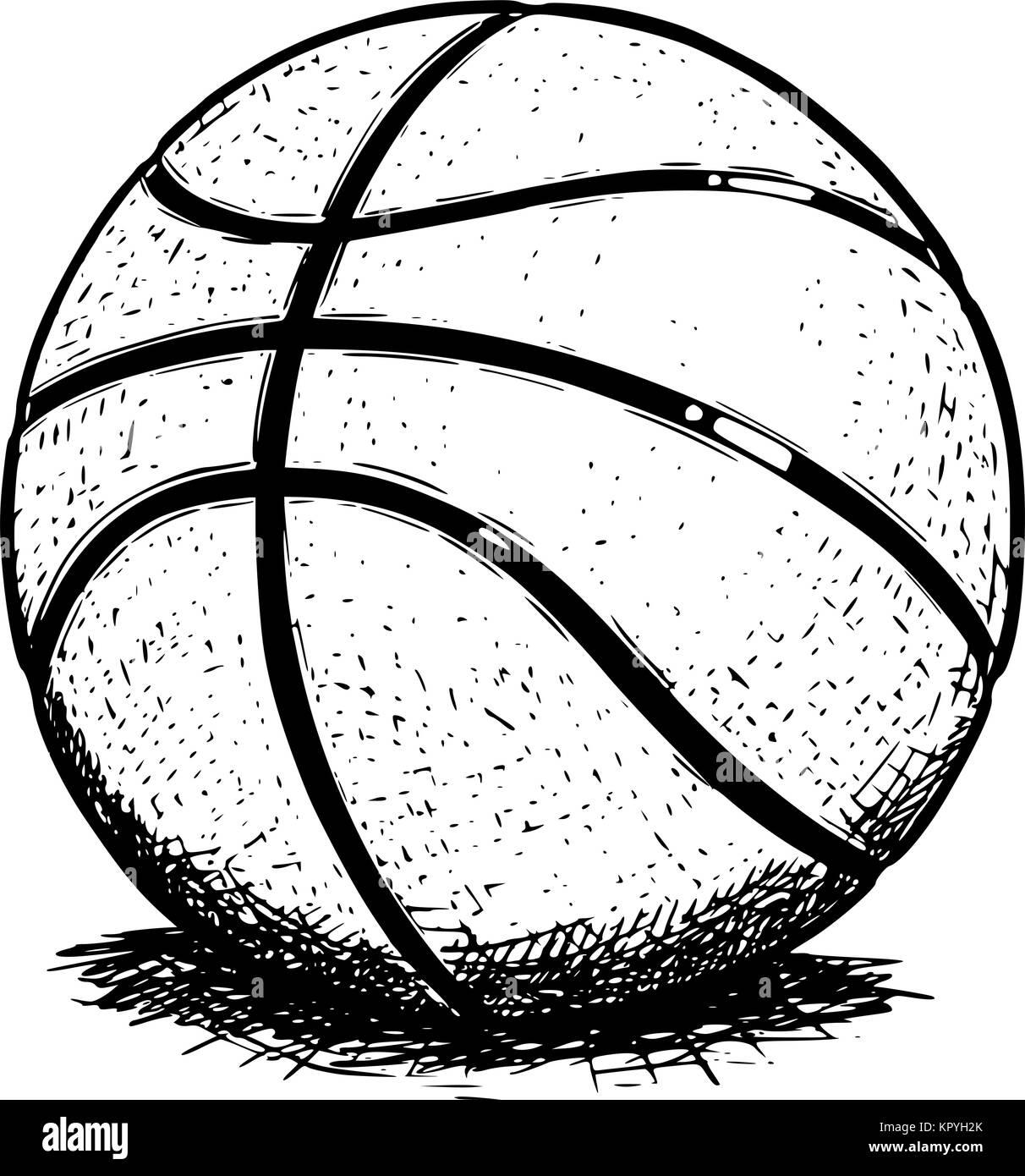 mão desenhada desenho vetorial ilustração da bola de basquete