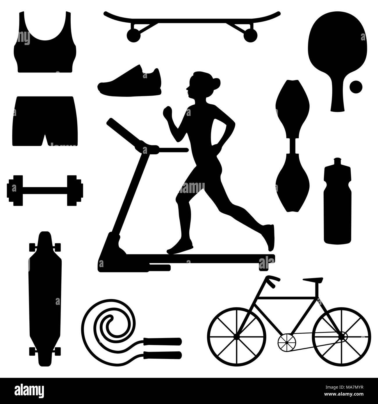silhueta de uma mulher correndo em esteira rodeado por ícones de