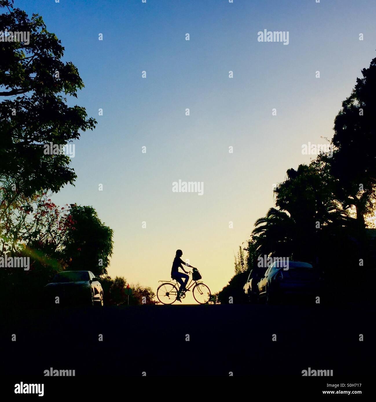 Silhueta de uma rapariga a andar de bicicleta Imagens de Stock