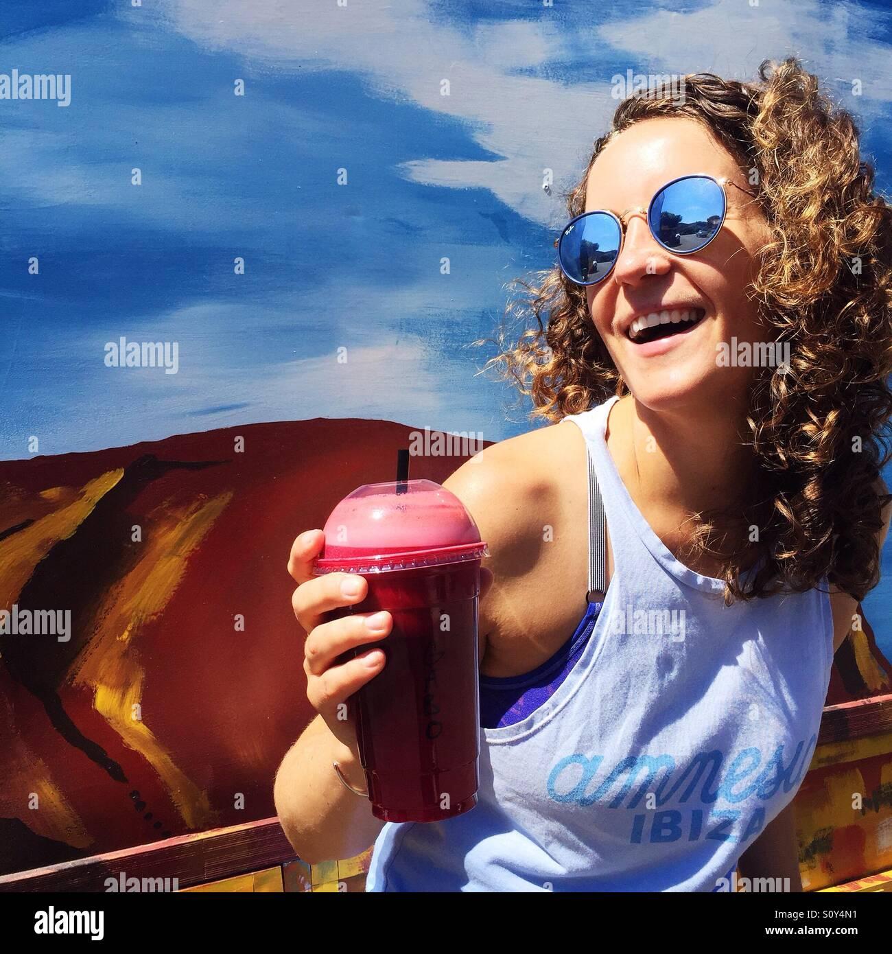 Retrato de uma mulher feliz Imagens de Stock