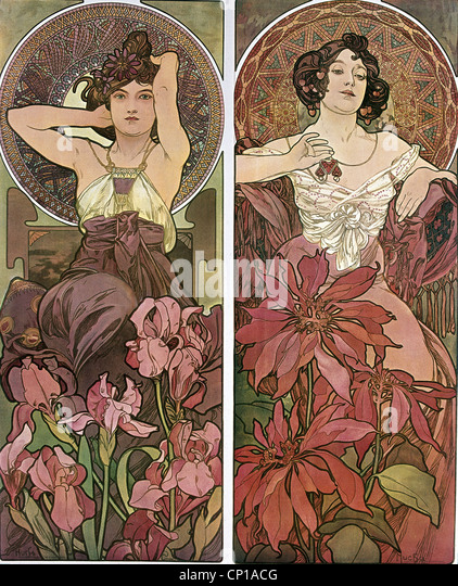 fine arts, Mucha, Alfons (1860 - 1939), poster, circa 1900, two women, sitting, flowers, hair, Art Nouveau, Alphonse, - Stock Image