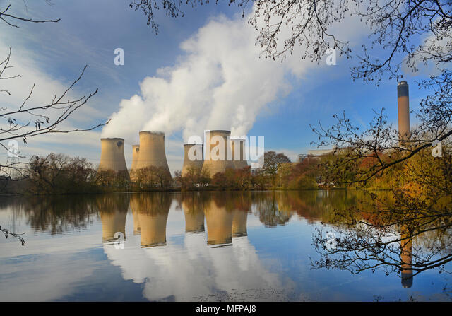 drax coal powered power station reflected in lake drax yorkshire united kingdom - Stock Image