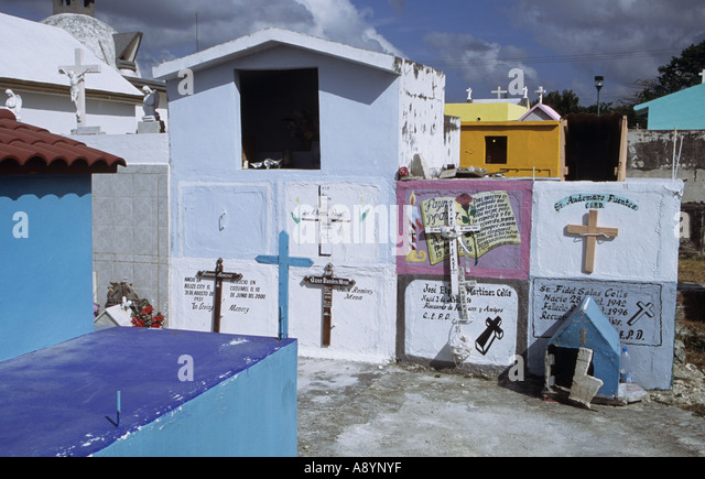 colourful cemetery in Cozumel Mexico - Stock Image