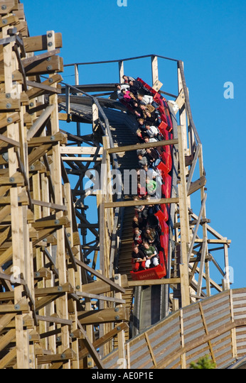 Sweden, Goteborg, Rollercoaster, Liseberg Amusement Park Stock Photo