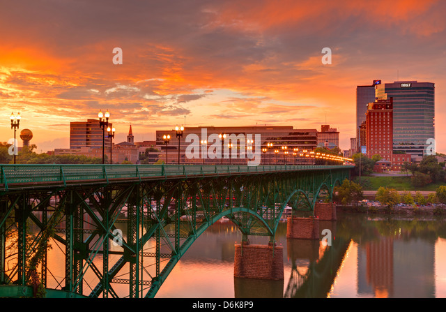Gay Street Bridge and Tennessee River, Knoxville, Tennessee, United States of America, North America - Stock Image