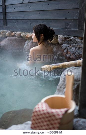 Hot spring Concept Open Air hot spring woman people Beppu Oita Kyushu Japan - Stock Image