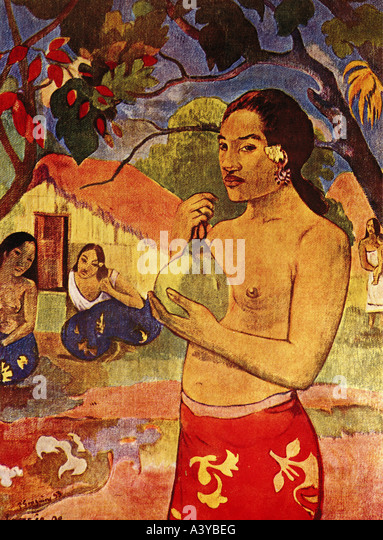 """fine arts, Gauguin, Paul, (1848 - 1903), painting, ""Tahiti woman with fruit"", 1893, oil on canvas, - Stock Image"