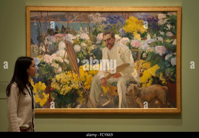 Royal Academy of Arts, London, UK. 26th January, 2016. Artist: Joaqin Sorolla, Louis Comfort Tiffany. Press view - Stock Image