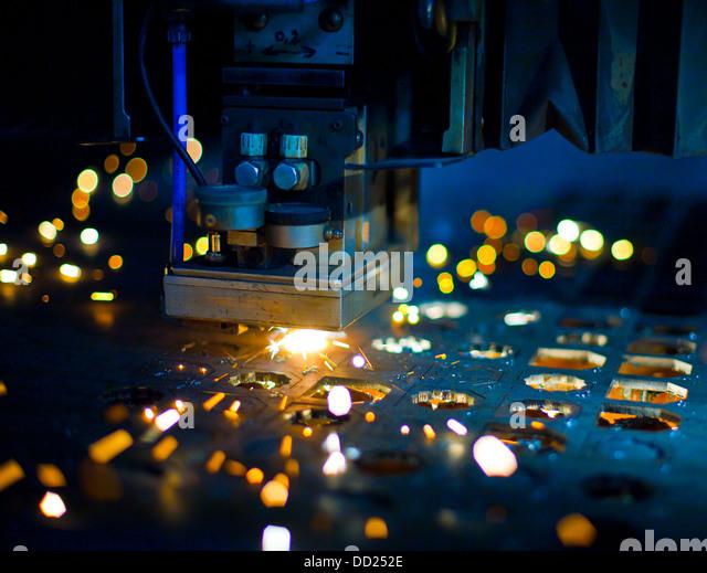 Laser cutting close up - Stock Image