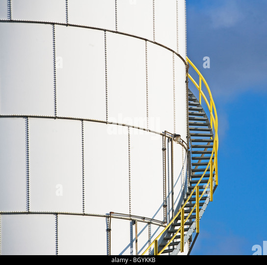 Steps on oil tank - Stock Image