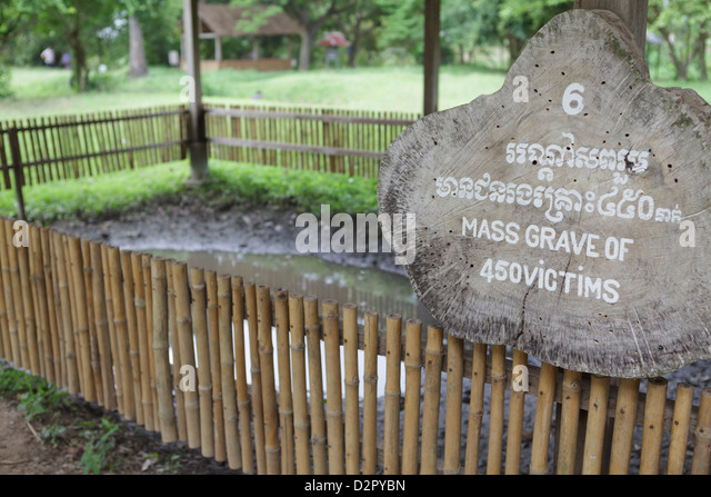 A mass grave of the victims of the Khmer Rouge, The Killing Fields at Choeung Ek, Cambodia, Indochina, Southeast - Stock Image