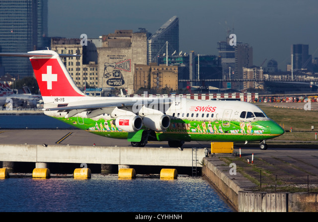 Regional airliner Swiss International Air Lines BAE Systems Avro 146-RJ100 at London City Airport, England, UK - Stock Image