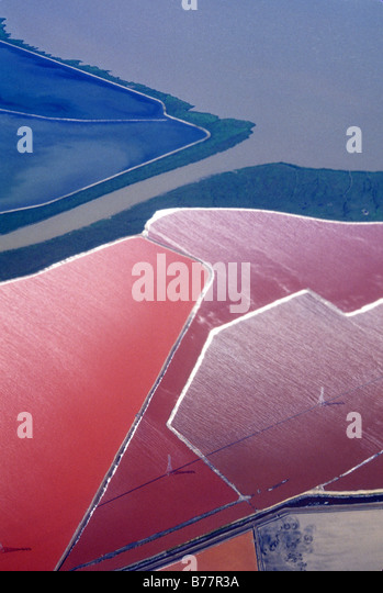 Aerial,salt evaporating ponds,San Francisco Bay California - Stock Image