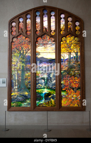 Autumn Landscape c1923 by Louis Comfort Tiffany, in The Metropolitan Museum of Art, New York - Stock Image