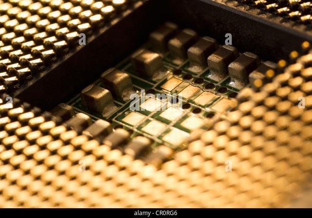 Studio shot of computer chip - Stock Image