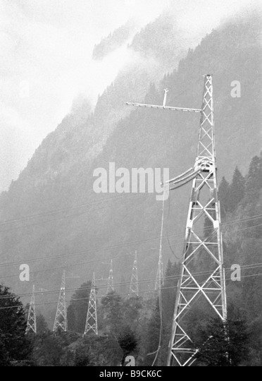 Pylons of the power transmission line at the Nakharsky mountain pass Abkhazia - Stock Image
