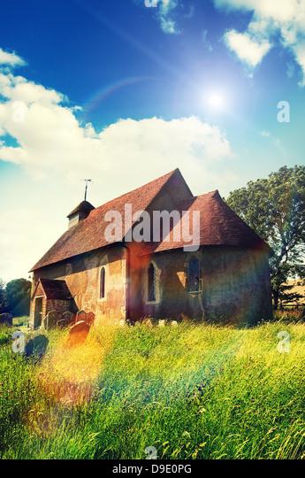 sunshine rural church - Stock Image