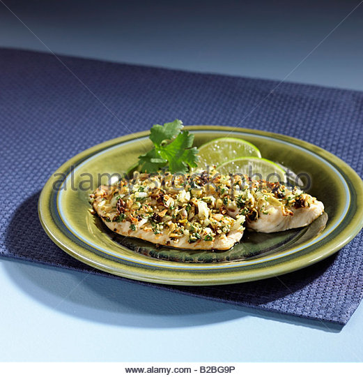 Close up of tilapia entree - Stock Image