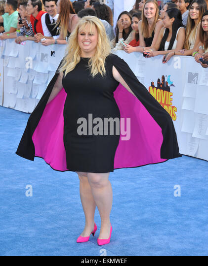 Los Angeles, California, USA. 12th Apr, 2015. Rebel Wilson attending The 2015 MTV Movie Awards - Arrivals held at - Stock Image