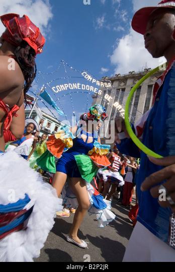 Afrocuban carnival group Los componedores de batea performing in the streets of La Habana Vieja Havana Cuba - Stock Image