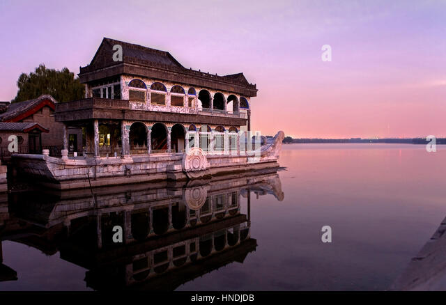 Summer Palace, in Kunming Lake. The Marble Boat,Beijing, China - Stock Image