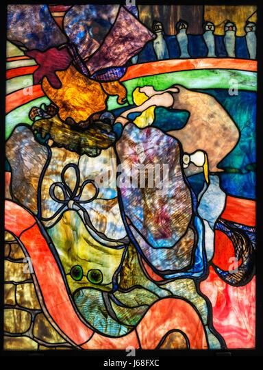 Toulouse-Lautrec and Louis Comfort Tiffany. Stained glass entitled 'Au Nouveau Cirque, Papa Chrysanthème' - Stock Image