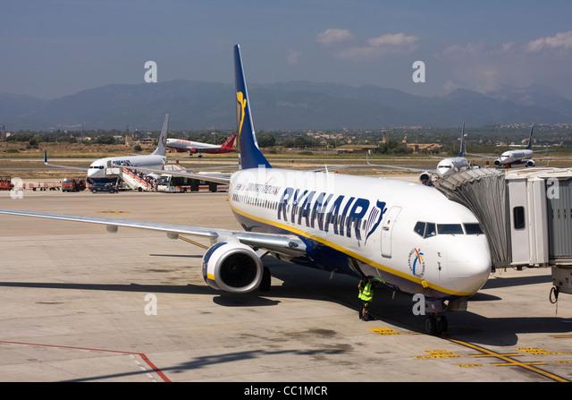 Ryanair Boeing 737-8AS at the airport gate. Palma de Mallorca, Son Sant Joan Airport, Spain. - Stock Image