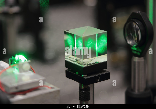 laser scientific optical system for research on crystals properties - Stock Image