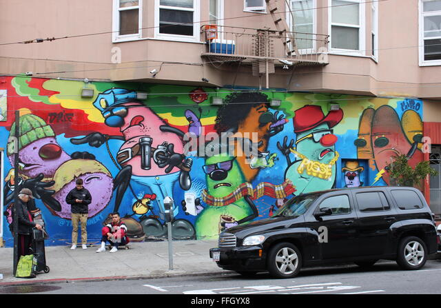graffiti with people on the street in San Francisco, California, USA - Stock Image