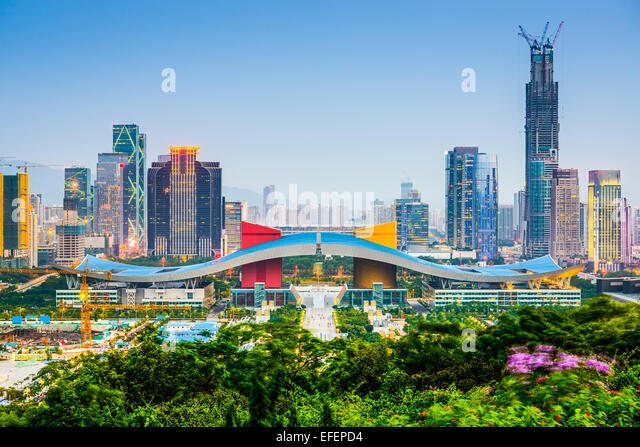 Shenzhen, China city skyline in the civic center district. - Stock Image