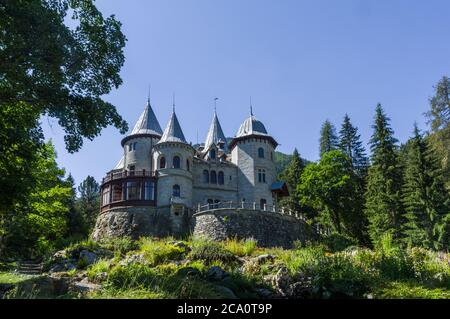 Gressoney-Saint-Jean, Italy (31st July 2020) - The Castle Savoia, built between 1899 and 1904 for the italian queen Margherita - Stock Image