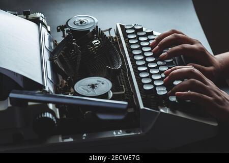 Old black and white indian manual model typewriter - Stock Image