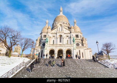 Basilica Sacre Coeur in Montmartre under snow, Paris, France - Stock Image