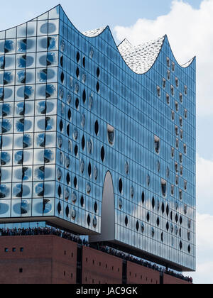 Elbphilharmonie Hamburg, concert hall at river Elbe on top of historic warehouse, Hafencity, hanseatic city, Hamburg, Germany - Stock Image