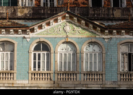 Derelict Grande Hotel do Parque before destruction, Caldas do Geres, Minho, Norte, Portugal. - Stock Image