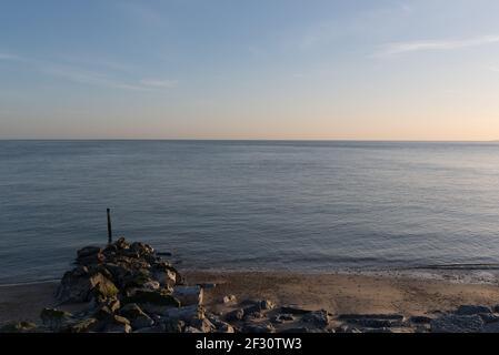 milford on sea coastal sunset - Stock Image