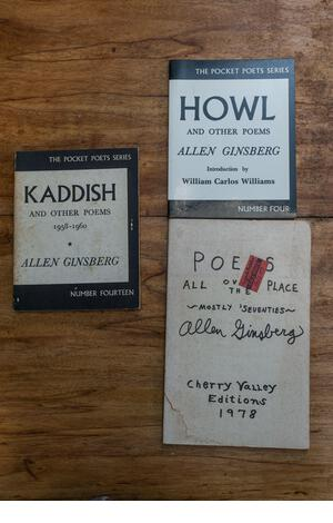 Fronts of three books by Allen Ginsberg, including Howl and other Poems and Kaddish and Other Poems published by City Lights. - Stock Image