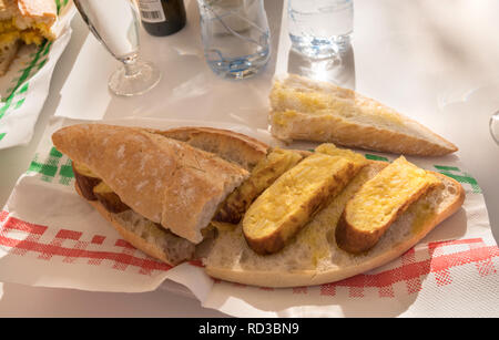Tortilla and bread sandwich,  Bocadillos de tortilla - Stock Image