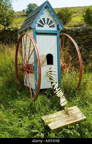 Strange movable hut, possibly a hen house, in Dentdale, Yorkshire Dales National Park, England, UK - Stock Image
