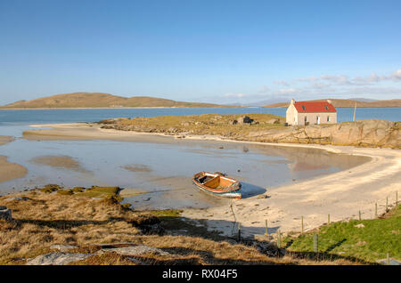 Crannag at Traig Mhor beach Isle of Barra, Outer Hebrides Western Isles. Scotland. - Stock Image