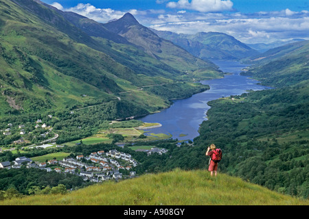 Looking down Loch Leven to the Pap of Glencoe from above Kinlochleven - Stock Image