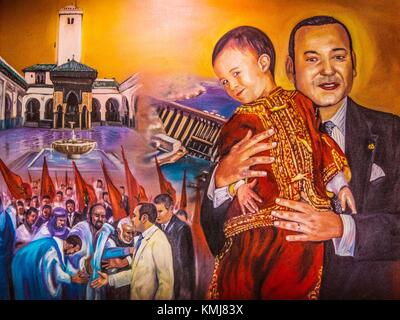 Morocco, Poster, representing King Mohamed VI and his son, meeting the moroccans, and giving culture (Karaouyne Mosque and University) and land - Stock Image