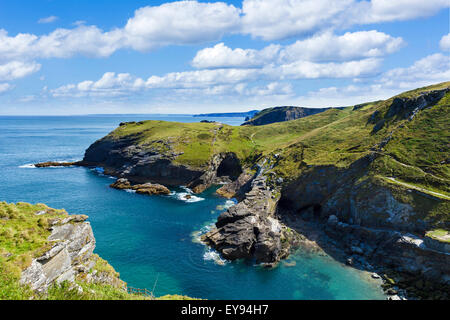 View along coast from ruins of Tintagel Castle, a site linked with the legend of King Arthur, Cornwall, England, - Stock Image