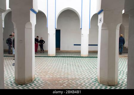 Bahia palace interiors in Marrakech, Morocco, North Africa - Stock Image