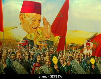 Wall painting representing King Hassan II and the 'Green March', Morocco. - Stock Image